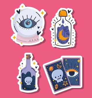 Carta dei tarocchi con sfera di cristallo magica e adesivi per bottiglie di pozioni