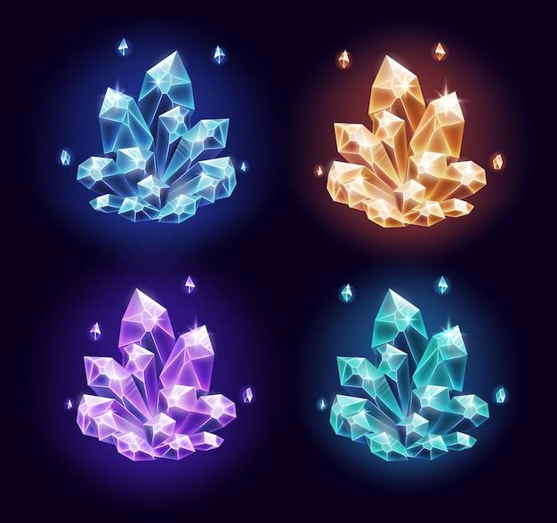 Set di risorse di cristalli magici isolato su blu scuro