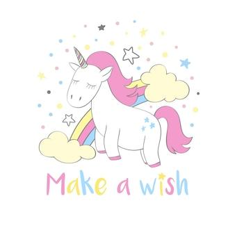 Unicorno magico carino in stile cartone animato con scritte a mano esprimi un desiderio.