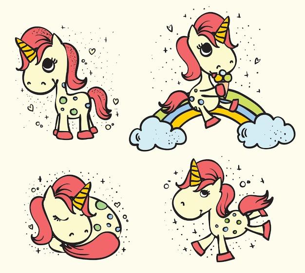 Magic carino unicorno set illustrazione vettoriale per la stampa di tshirt design biglietto di auguri