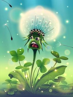 Fiore di tarassaco magico con un bellissimo trifoglio mattutino di erba verde soleggiata nella foresta estiva fantasy