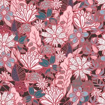 Modello senza cuciture floreale di scarabocchio rosso scuro magico con un disordine di fiori e foglie colorati