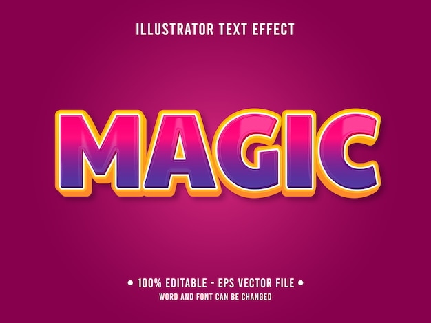 Effetto di testo modificabile magico in stile moderno con colore viola sfumato