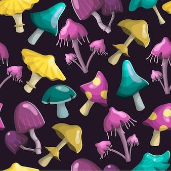 Funghi magici delle fate di diverse forme e colori. decorazione di sfondo.