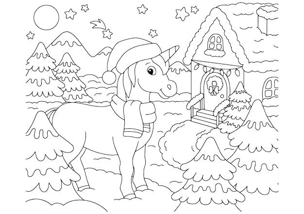 Unicorno fata magica cavallo carino pagina del libro da colorare per bambini