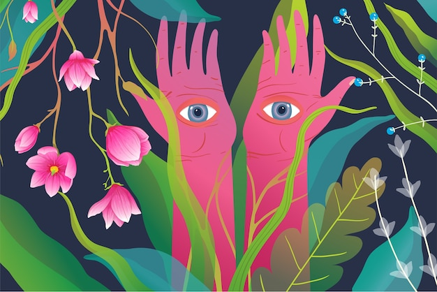 Fiori della foresta magica e mani con gli occhi che guardano.