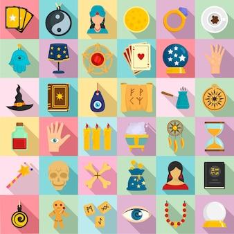 Set di icone di indovino magico. insieme piano delle icone magiche dell'indovino