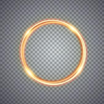 Effetto luce magico cerchio oro. illustrazione isolata