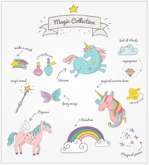 La collezione di doodle disegnato a mano magico con unicorno, arcobaleno