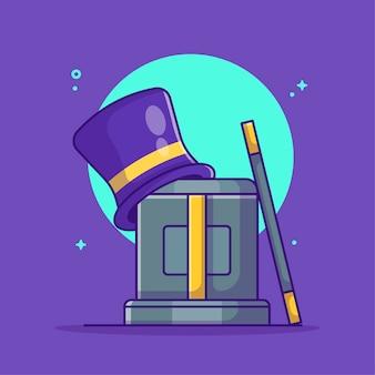 Cappello magico e scatola magica con bacchetta magica cartoon