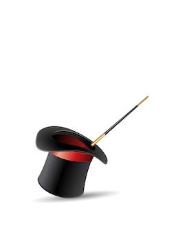 Cappello e bacchetta magica con scintillii stelle magiche bagliore illustrazione vettoriale design realistico isolato su sfondo bianco