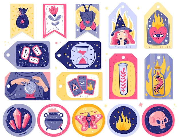 Le icone magiche scarabocchia l'illustrazione delle carte