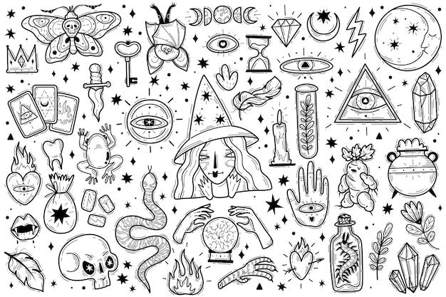 Icone magiche doodles set di contorni