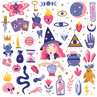 Icone magiche doodles set illustrazione