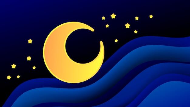 Illustrazione magica con la luna e diversi elementi di spazio