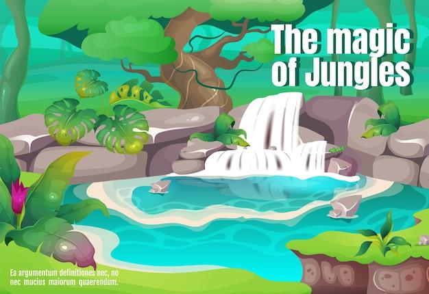 La magia della giungla poster modello piatto. legni tropicali. natura esotica. cascata chiara. brochure, booklet one page concept design con personaggi dei cartoni animati. volantino foresta pluviale, volantino