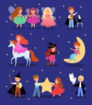 Bambino magico nell'illustrazione del costume da favola, personaggio dei cartoni animati carino mago bambino, fantasia bambini magici impostati