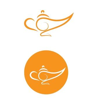 Immagine vettoriale logo e icona della lampada magica