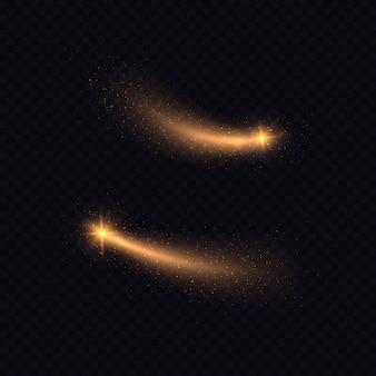 Traccia di luce magica di scintillante coda di cometa