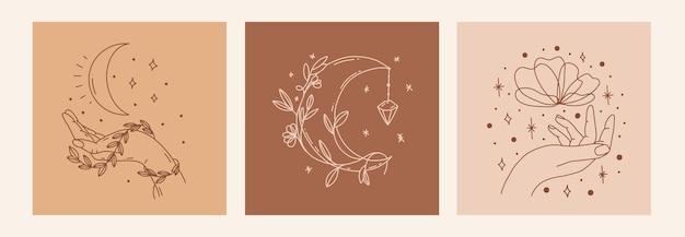Poster di linea magica con luna, mano, fiore