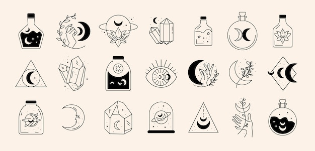 Set di icone di linea magica