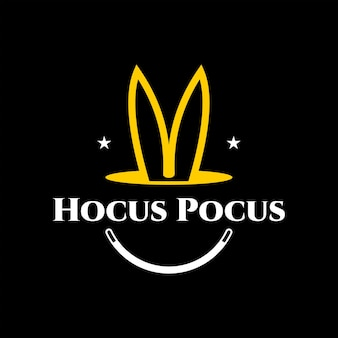 Logo magico divertenti orecchie di coniglio in buca