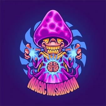 Illustrazione di funghi magici