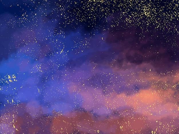 Cielo blu scuro notte magica con stelle scintillanti