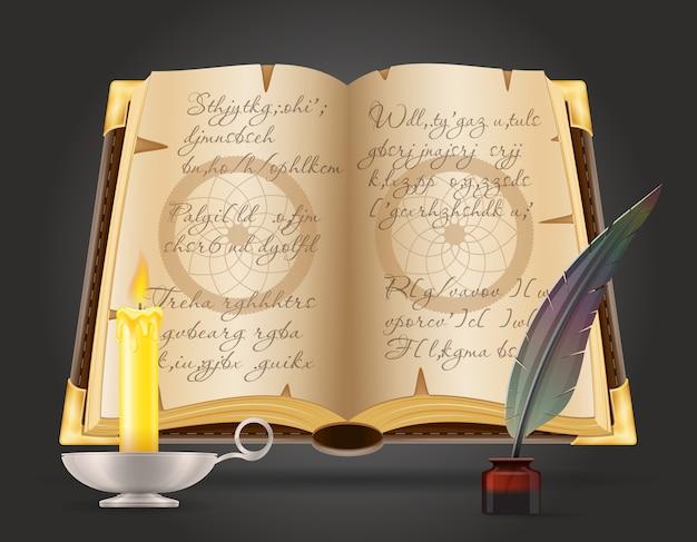 Oggetti magici per l'illustrazione della strega di stregoneria isolata su priorità bassa nera