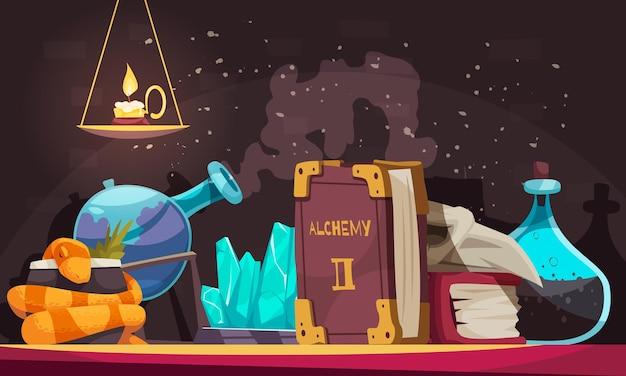 Oggetti magici con boccette di pietre alchimia libro candela teschio serpente fumetto illustrazione