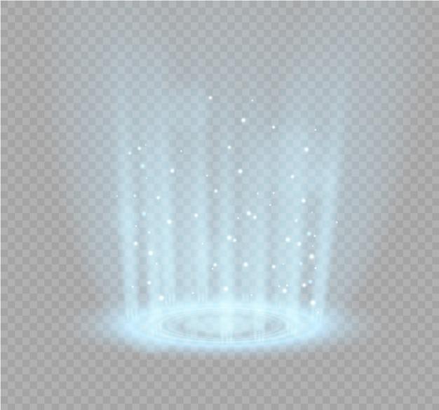 Portale magico della fantasia. teletrasporto futuristico. effetto luce. raggi di luce della scena notturna e scintille su uno sfondo trasparente. vuoto effetto luce del podio. discoteca della pista da ballo.