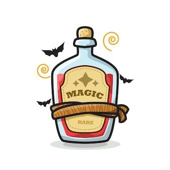 Bottiglia di pozione magica halloween cute line art illustration