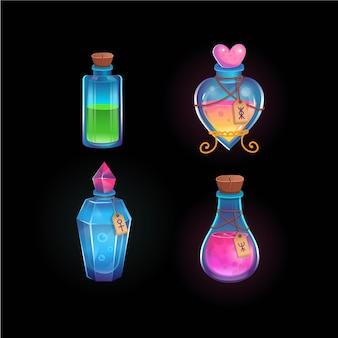 Pozioni magiche in bottiglie diverse. pozione d'amore, pozioni verdi, blu e rosa. illustrazione del fumetto. icona per giochi e applicazioni mobili.
