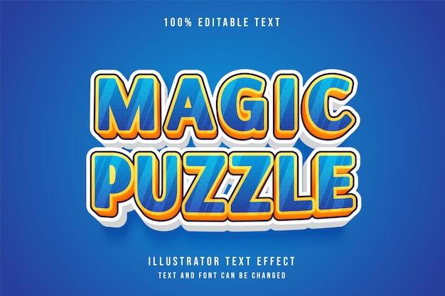 Puzzle magico, effetto di testo modificabile 3d gradazione blu giallo arancione viola effetto stile fumetto