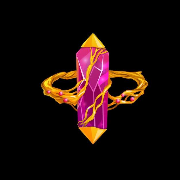 Anello magico con gemma rosa, gioielli fantasia vettoriale. gioiello in oro da mago o strega con gemma preziosa e radici d'oro intrecciate con diamanti, rubini o cristalli. elemento di design del fumetto isolato per gioco per computer