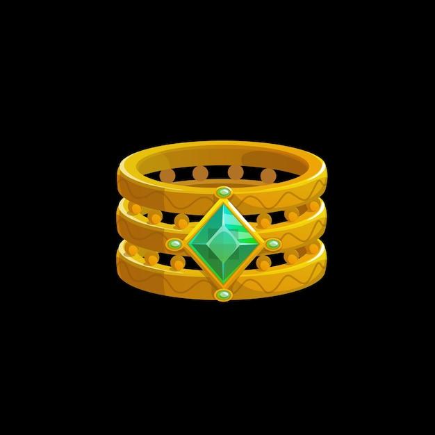 Anello magico del mago con pietre preziose verdi, gioielli dorati dello stregone di vettore. gioiello da strega in oro fantasy con cristalli di gemme preziose. elemento dell'interfaccia utente dei cartoni animati, risorsa di progettazione grafica isolata per il gioco per computer