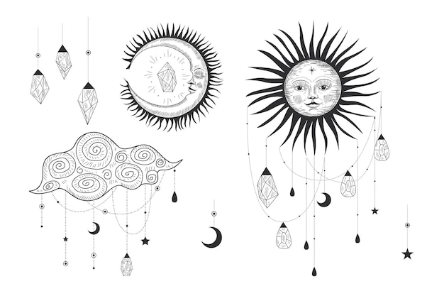 Magica illustrazione sacra in stile vintage retrò incisione