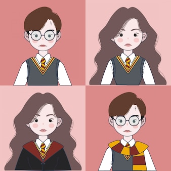 Set di uniformi scolastiche magiche. illustrazione guidata.