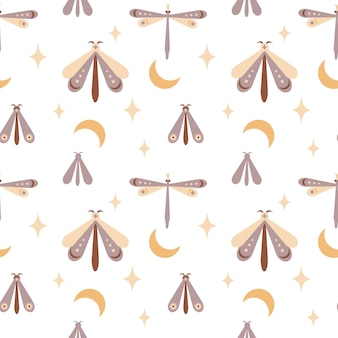 Magic seamless pattern boho farfalla falena libellula con luna stareeye isolato su bianco