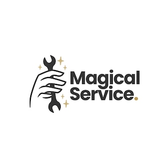 Modello di logo mistico della mano della chiave di servizio magica