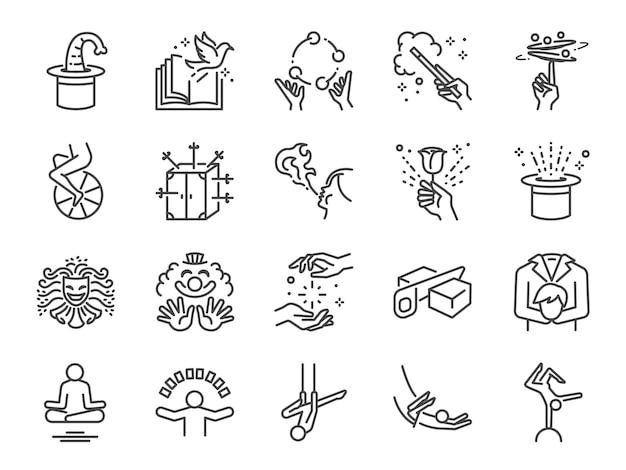 Set di icone di linea spettacolo magico.