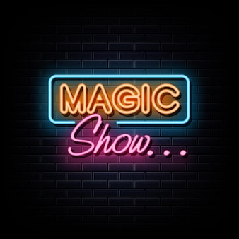 Insegna e simbolo al neon con logo al neon di spettacolo magico