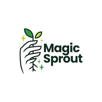 Modello di logo della mano di crescita della foglia del germoglio magico