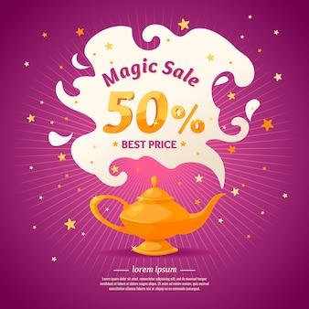 Super vendita magica nel design in stile cartone animato