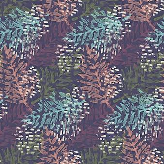 Modello senza cuciture scuro strutturato magico con foglie tropicali verdi, corallo, blu e magenta