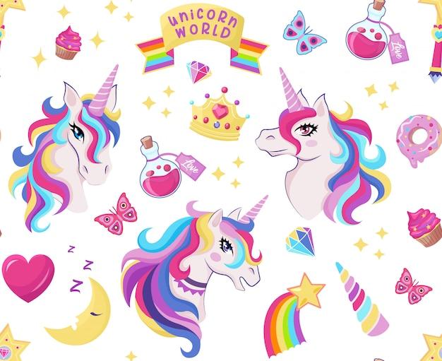 Modello senza cuciture icona unicorno magico con bacchetta magica, stelle con arcobaleno, diamanti, corona, mezzaluna, cuore, farfalla, decorazioni per compleanno ragazza,
