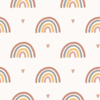Reticolo senza giunte magico di vettore. illustrazione disegnata a mano dell'arcobaleno della scuola materna di boho. design carino per baby shower, stampa di vestiti per bambini, tessuto, carta da imballaggio digitale, carta da parati.