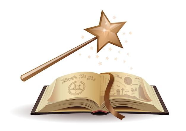 Bacchetta magica e un libro di testo sulla magia nera. libro aperto. fiabe. racconti spaventosi per bambini. illustrazione