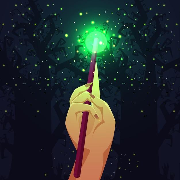 Bacchetta magica con scintillii magici sull'illustrazione blu del fondo dell'albero nudo