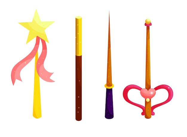 Set di illustrazioni piatte del fumetto di bacchette magiche.